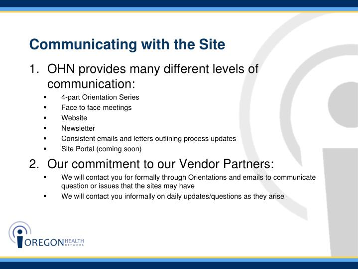 Communicating with the Site