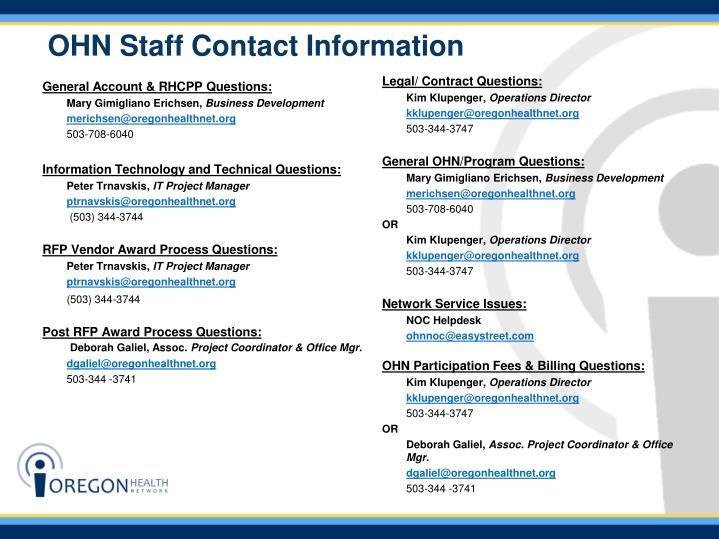 OHN Staff Contact Information