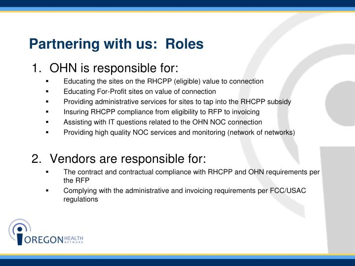 Partnering with us:  Roles
