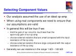 selecting component values