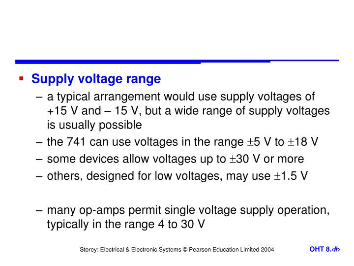 Supply voltage range
