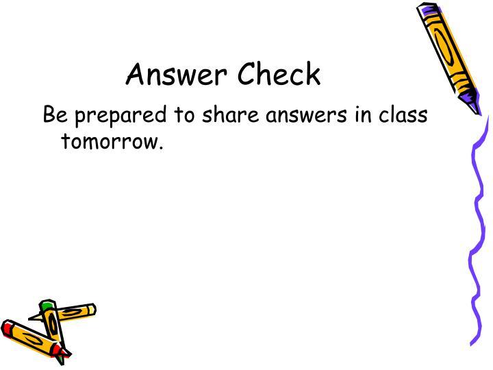 Answer Check
