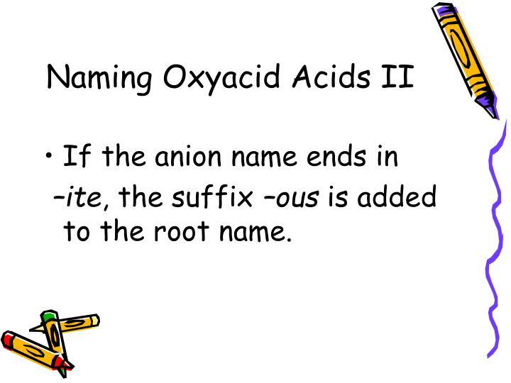 Naming Oxyacid Acids II