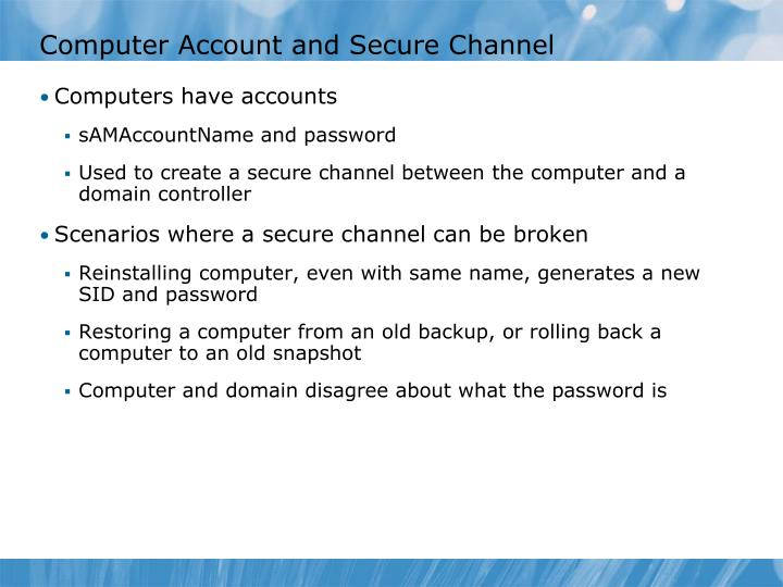 Computer Account and Secure Channel