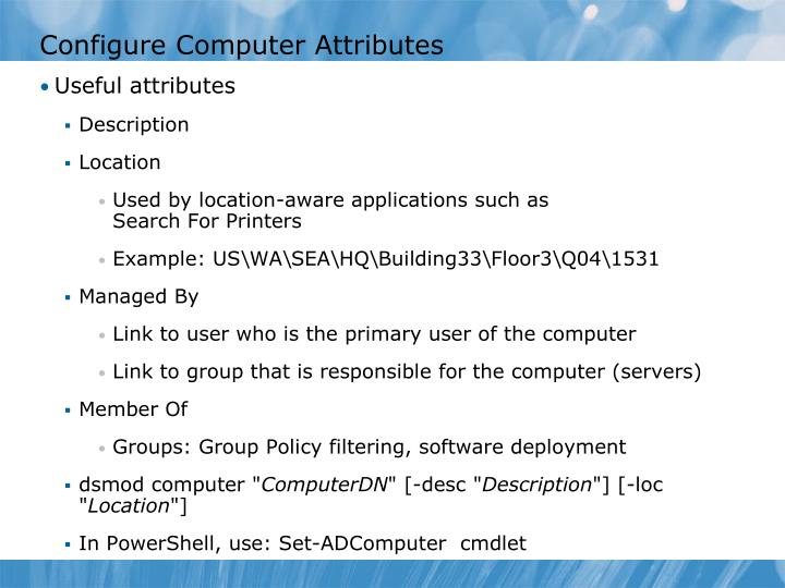 Configure Computer Attributes