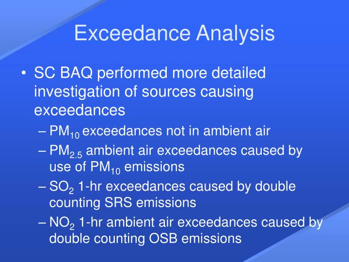 Exceedance Analysis