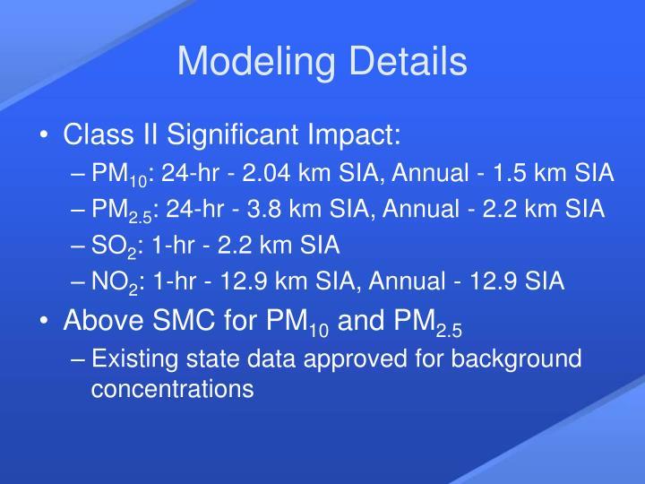 Modeling Details