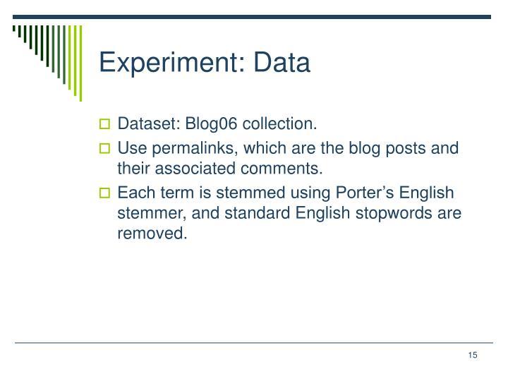 Experiment: Data