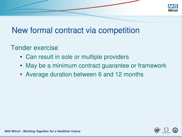 New formal contract via competition