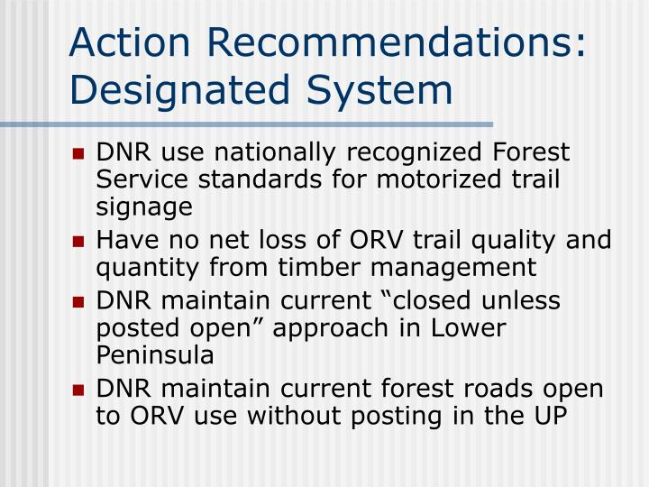 Action Recommendations: Designated System