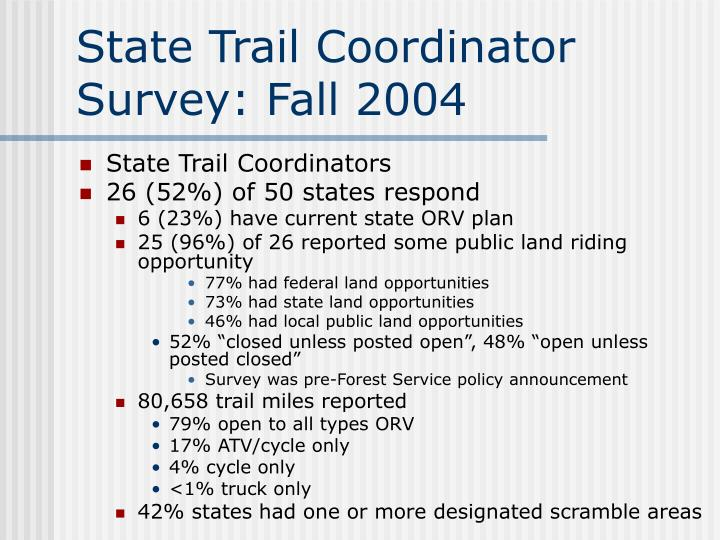 State Trail Coordinator Survey: Fall 2004