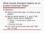 what should president adams do to protect american ships1