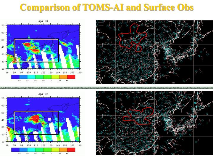 Comparison of TOMS-AI and Surface Obs