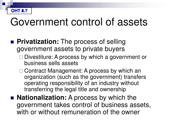 Government control of assets