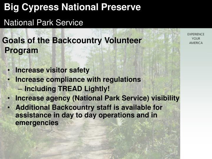 Goals of the Backcountry Volunteer