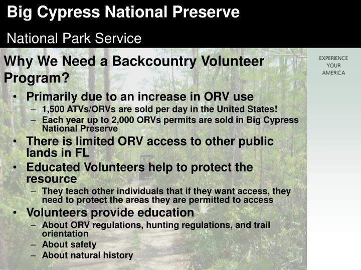 Why We Need a Backcountry Volunteer Program?