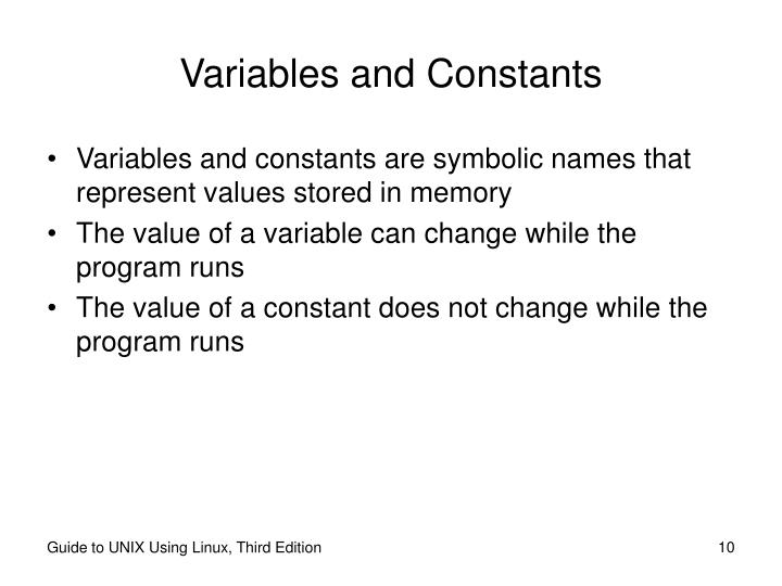 Variables and Constants