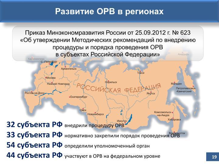 Развитие ОРВ в регионах