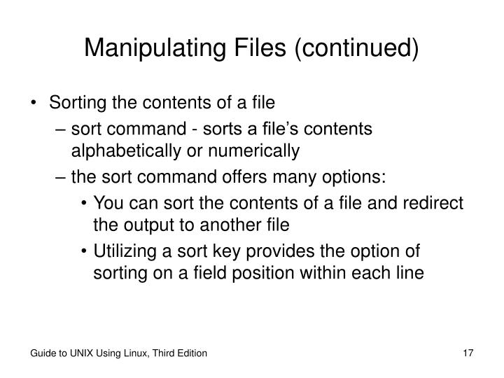 Manipulating Files (continued)