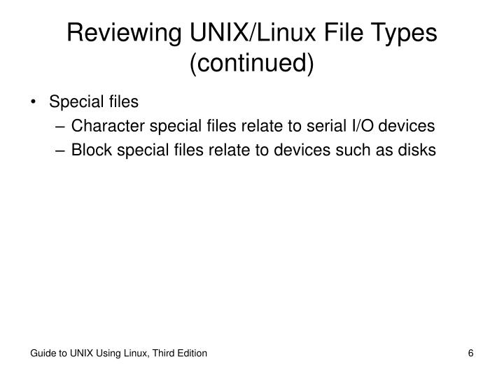 Reviewing UNIX/Linux File Types (continued)