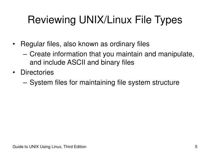Reviewing UNIX/Linux File Types