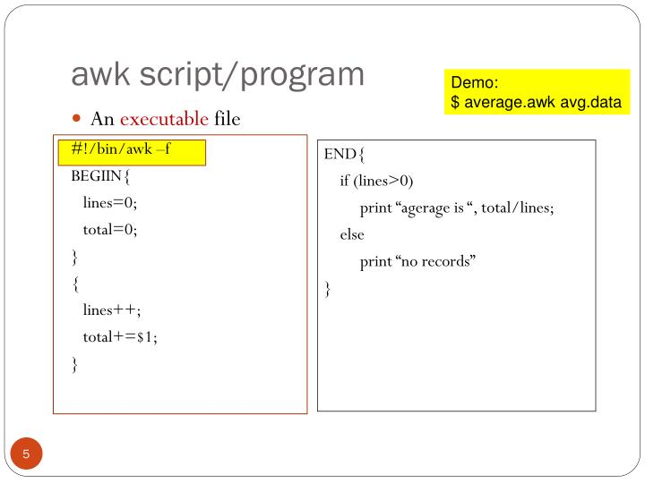 awk script/program