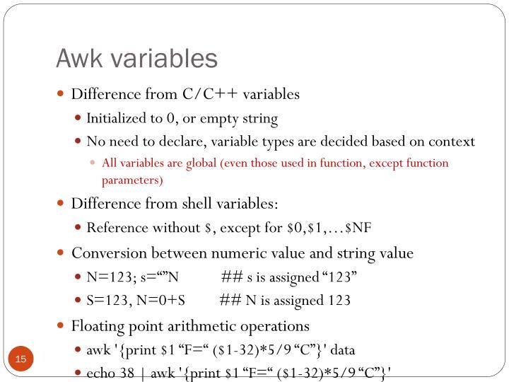 Awk variables