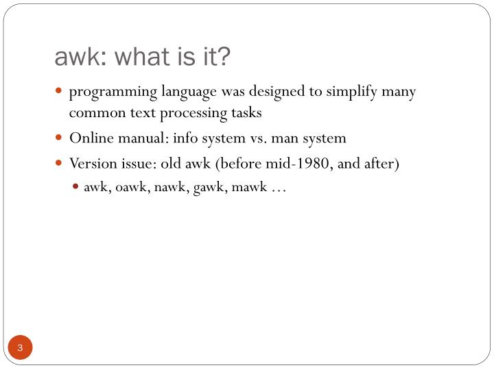 awk: what is it?