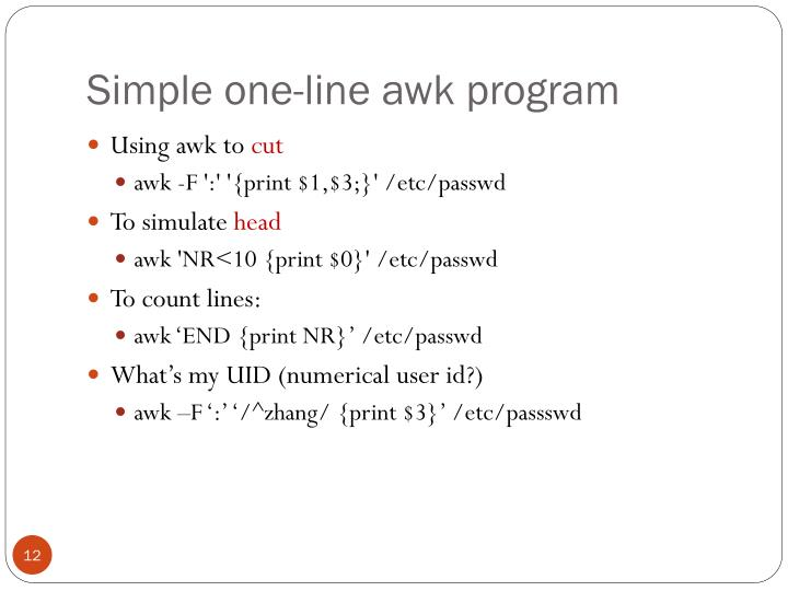 Simple one-line awk program