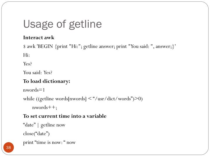 Usage of getline
