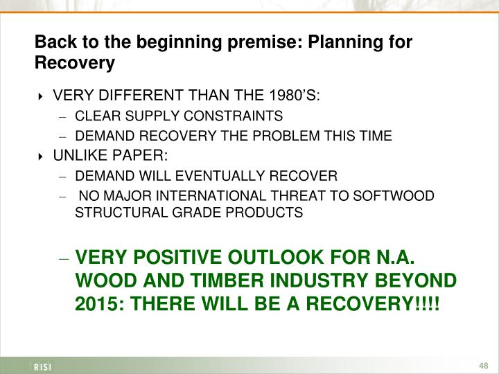 Back to the beginning premise: Planning for Recovery