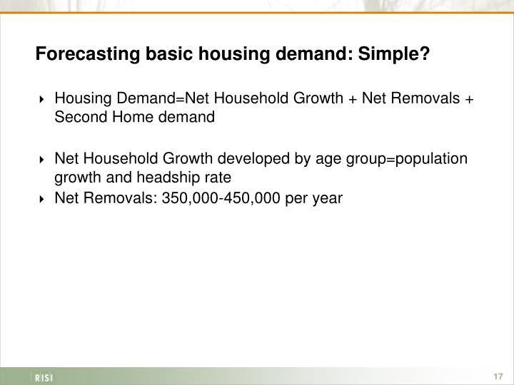 Forecasting basic housing demand: Simple?