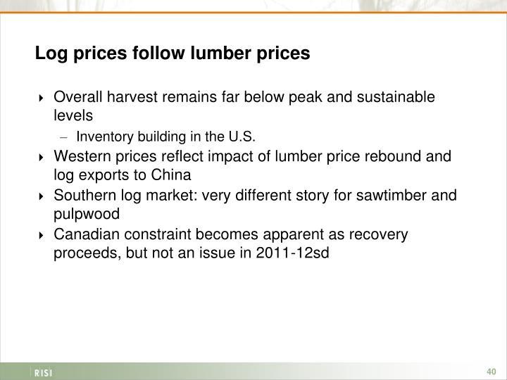 Log prices follow lumber prices