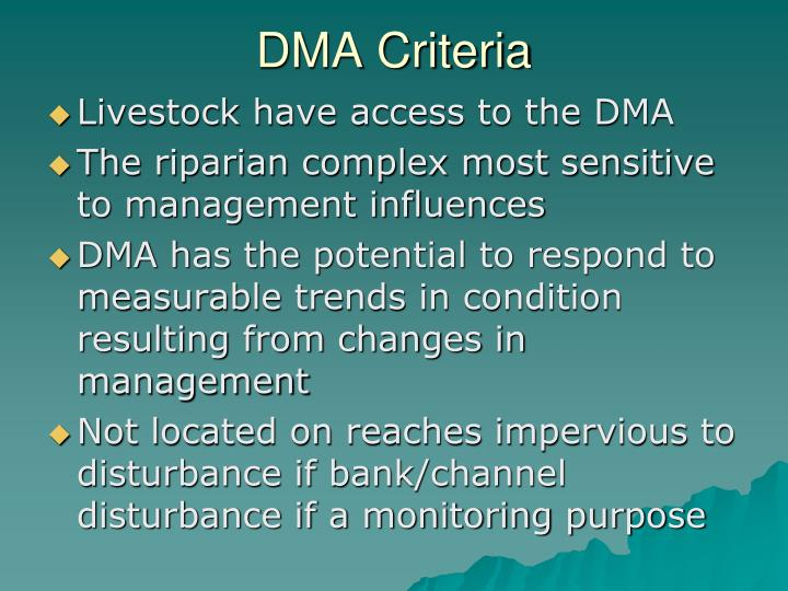DMA Criteria