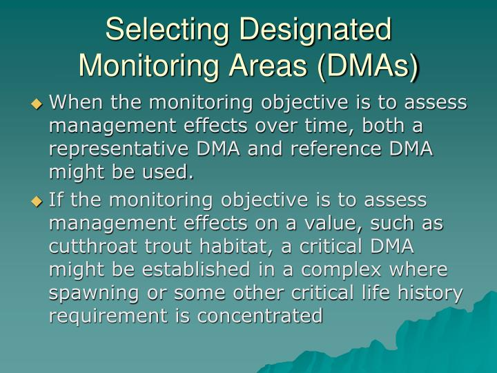 Selecting Designated Monitoring Areas (DMAs)