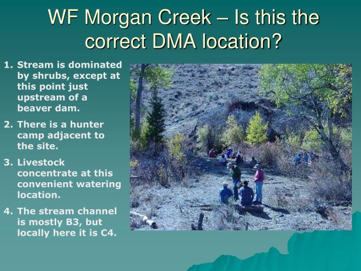 WF Morgan Creek – Is this the correct DMA location?