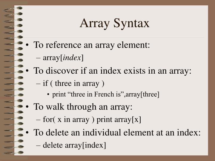 Array Syntax