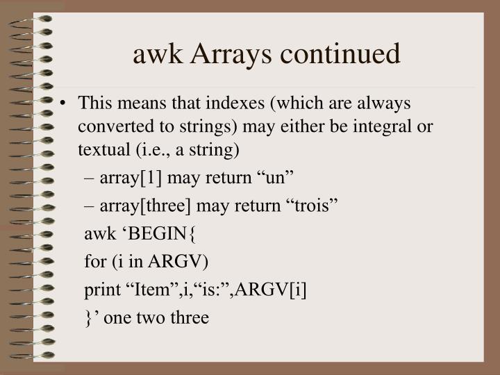awk Arrays continued