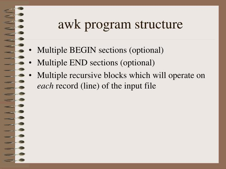 awk program structure