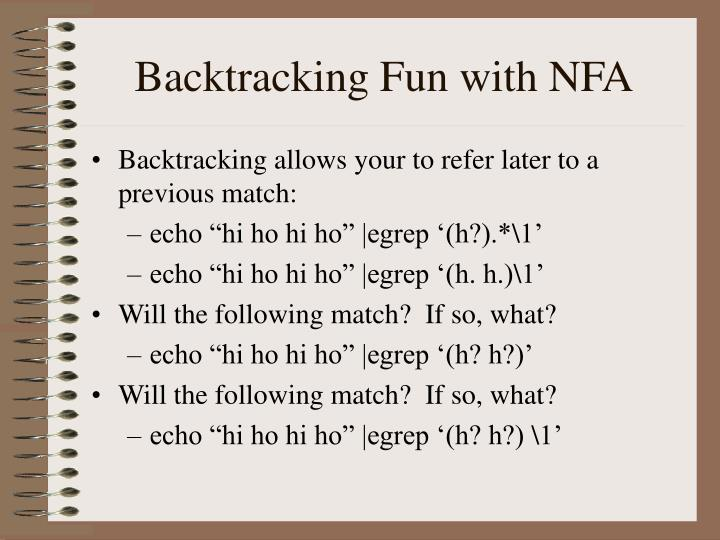 Backtracking Fun with NFA