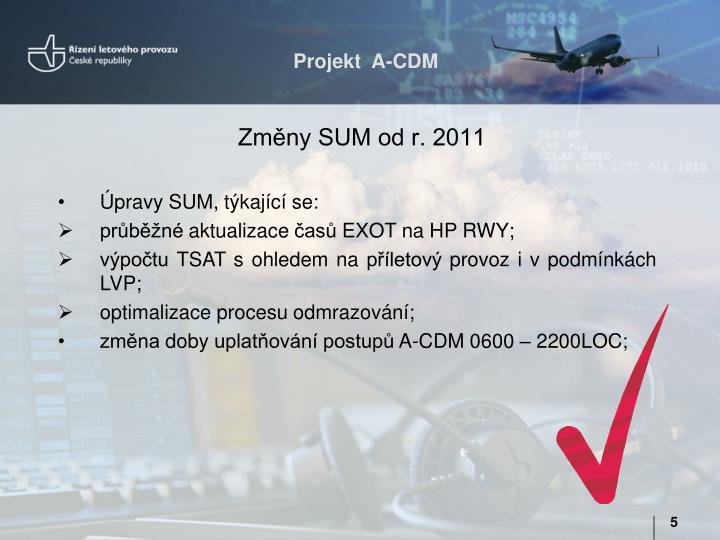 Změny SUM od r. 2011