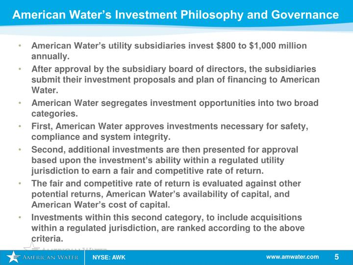 American Water's Investment Philosophy and Governance