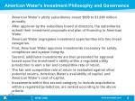 american water s investment philosophy and governance