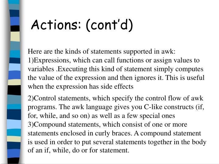 Actions: (cont'd)