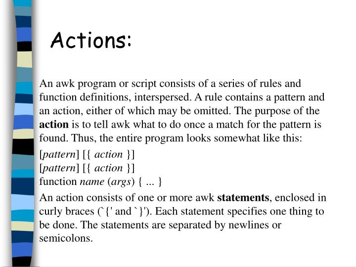 Actions:
