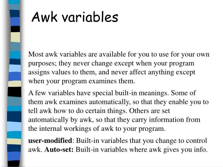 Awk variables
