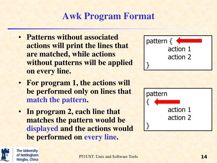 Awk Program Format