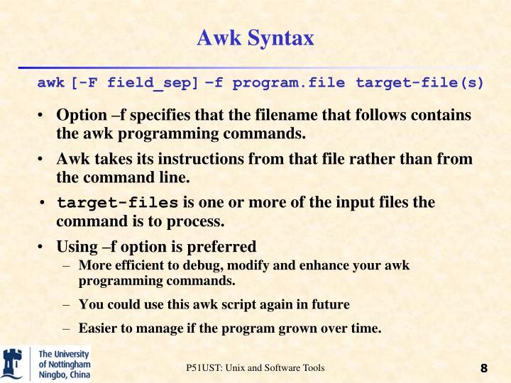 Awk Syntax