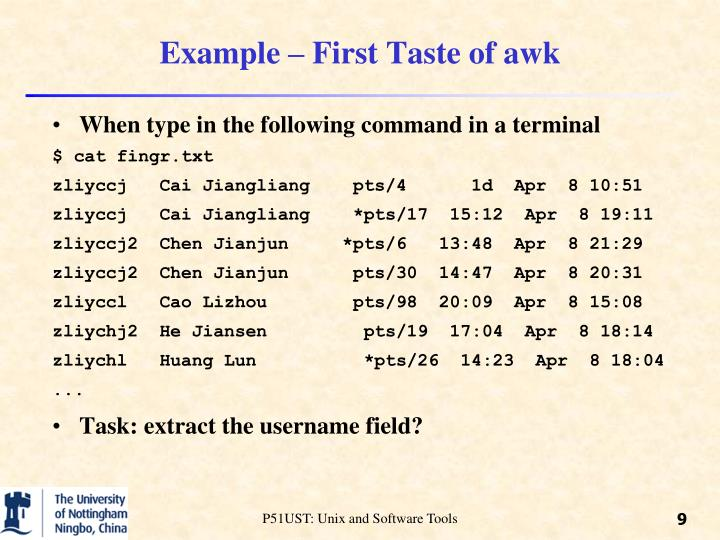Example – First Taste of awk