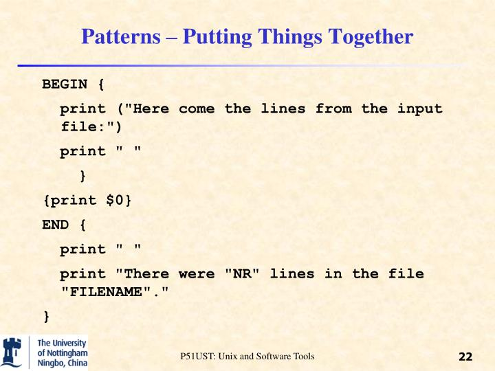 Patterns – Putting Things Together
